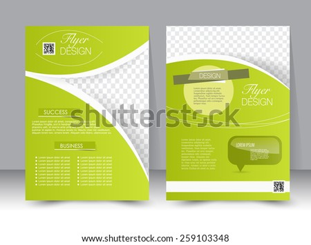 Flyer template. Business brochure. Editable A4 poster for design, education, presentation, website, magazine cover. Bright green color. - stock vector