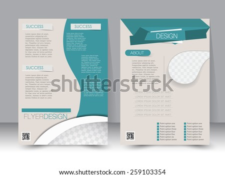 Flyer template. Business brochure. Editable A4 poster for design, education, presentation, website, magazine cover. Dark green color. - stock vector