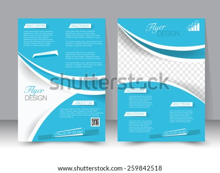 Flyer template. Business brochure. Editable A4 poster for design, education, presentation, website, magazine cover. Blue and silver color.  - stock vector