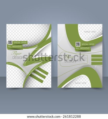 Flyer template. Business brochure. Editable A4 poster for design, education, presentation, website, magazine cover. Green and silver color. - stock vector