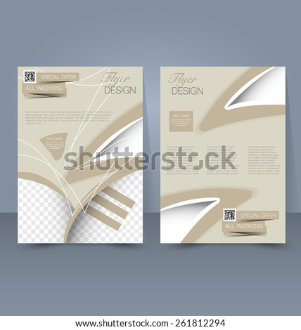 Flyer template. Business brochure. Editable A4 poster for design, education, presentation, website, magazine cover. Sand color. - stock vector