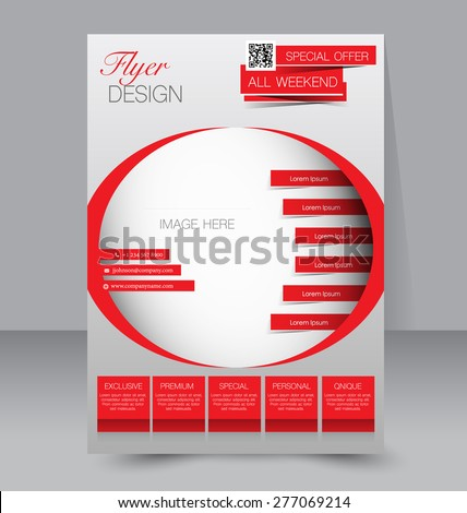Flyer template. Business brochure. Editable A4 poster for design, education, presentation, website, magazine cover. Red color. - stock vector