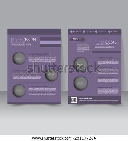 Flyer template. Business brochure. Editable A4 poster for design, education, presentation, website, magazine cover. Purple color. - stock vector