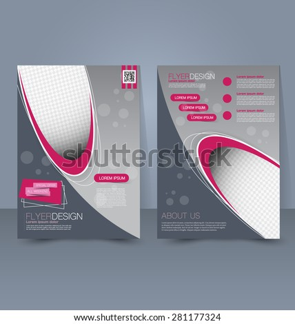 Flyer template. Business brochure. Editable A4 poster for design, education, presentation, website, magazine cover. Pink and grey color. - stock vector