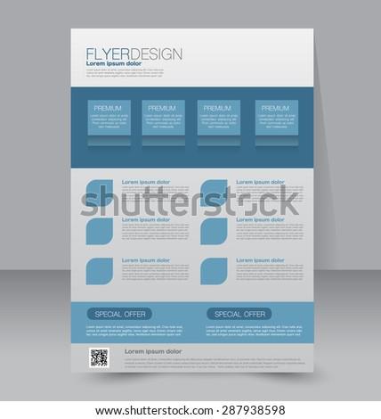 Flyer template. Business brochure. Editable A4 poster for design, education, presentation, website, magazine cover. Blue color - stock vector