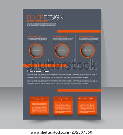 Flyer template. Business brochure. Editable A4 poster for design, education, presentation, website, magazine cover. Orange and grey color.