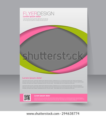 Flyer template. Business brochure. Editable A4 poster for design, education, presentation, website, magazine cover. Green and pink color - stock vector