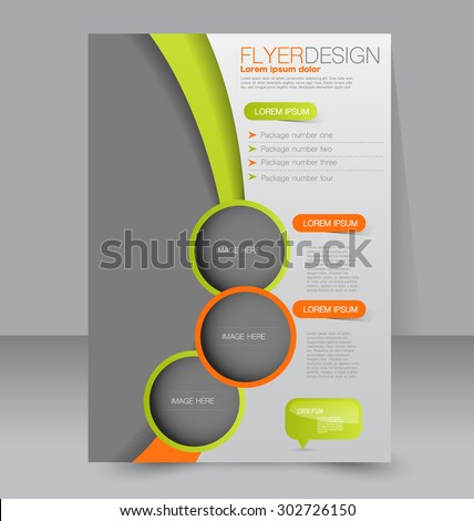 Flyer template. Business brochure. Editable A4 poster for design, education, presentation, website, magazine cover. Green and orange color. - stock vector