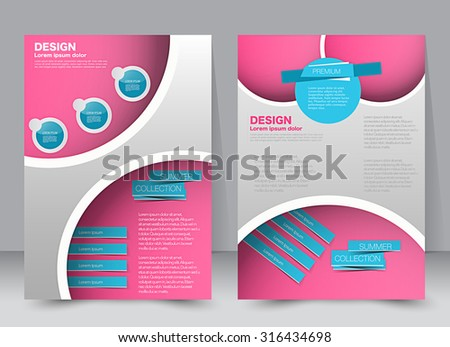 Flyer template. Business brochure. Editable A4 poster for design, education, presentation, website, magazine cover. Blue and pink color. - stock vector
