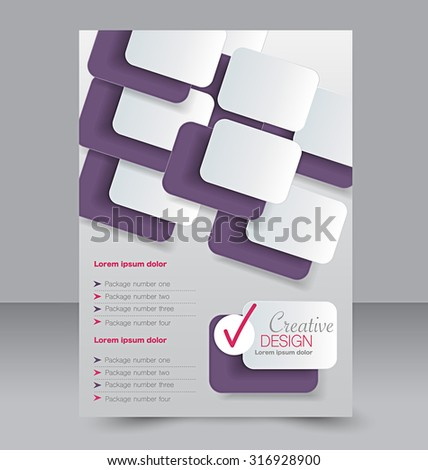 Flyer template. Business brochure. Editable A4 poster for design, education, presentation, website, magazine cover. Purple and pink color. - stock vector