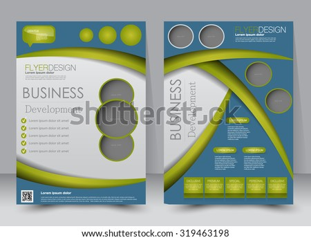 Flyer template. Business brochure. Editable A4 poster for design, education, presentation, website, magazine cover. Green and blue color. - stock vector