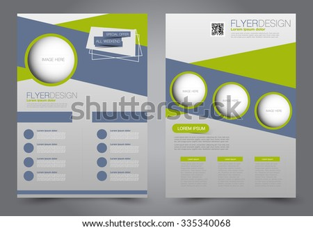 Flyer template. Business brochure. Editable A4 poster for design, education, presentation, website, magazine cover. Green color.  Editable vector illustration. - stock vector