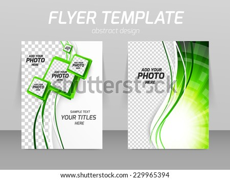 Flyer template ecology design with squares and green waves - stock vector