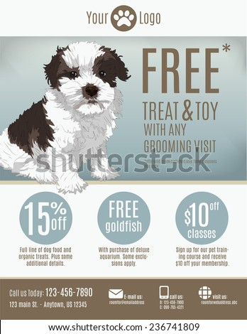 Flyer Template Pet Store Groomer Discount Stock Vector