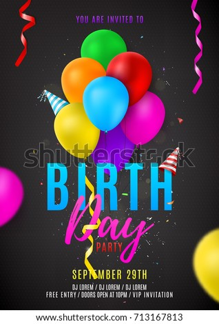Flyer Template Birthday Party Beautiful Background Stock Vector