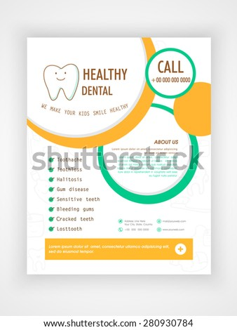 Flyer, Template or Brochure layout for Medical Care and Healthy Dental concept. - stock vector