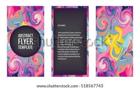 Flyer template set with marble texture backgrounds in bright colors. Colorful flyers with marble swirls. 80s style flyers. Vector illustration for your graphic design.