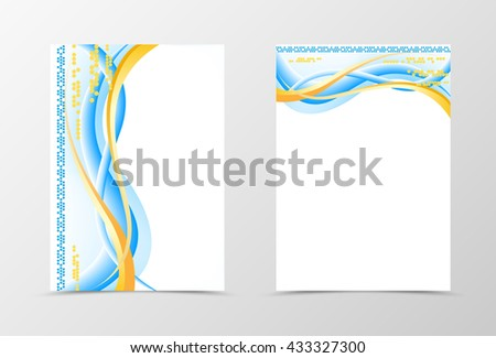 Flyer template smooth design. Abstract flyer template with yellow lines, hexagons and circles. Wavy flyer design. Vector illustration - stock vector