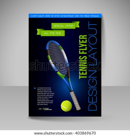 Flyer template. Tennis symbols. Vector sport elements for design.