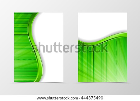 Flyer template wave design. Abstract flyer template with green line and digital surface. Dynamic spectrum flyer design. Vector illustration - stock vector
