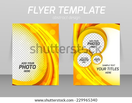 Flyer template with orange background and circles - stock vector