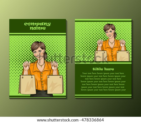 Flyer template with woman and shopping bags.