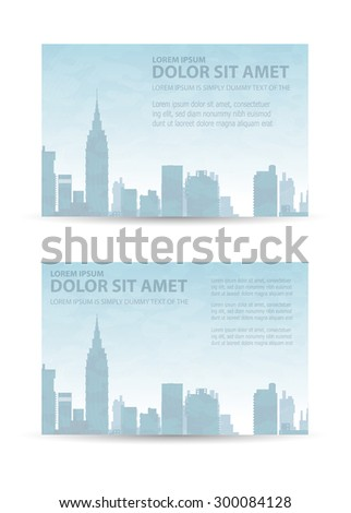 Flyer town for business and corporate business cards and invitations to urban style - stock vector