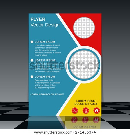 Flyer vector design. Brochure cover, poster, booklet template. - stock vector