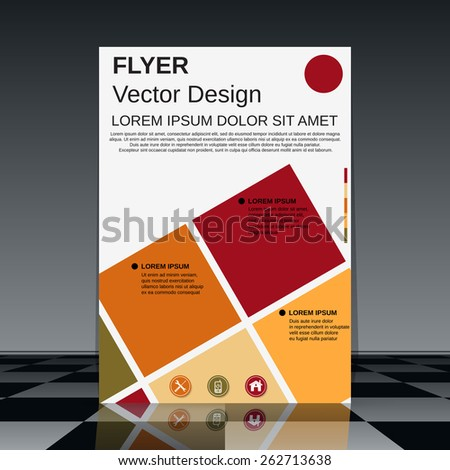 Flyer vector template. Brochure cover, booklet, poster abstract design. - stock vector