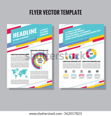 settlement brochure template - flyer vector template infographic icons world stock vector