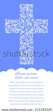Flyer with Christian Cross  - stock vector