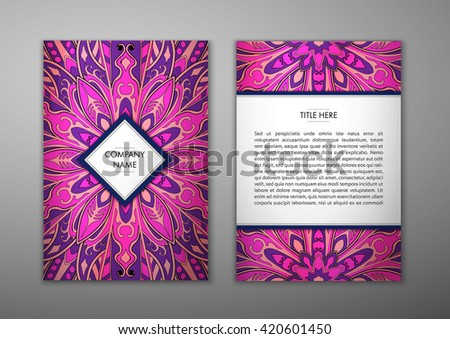 Flyer with Floral mandala pattern and ornaments. Vector Flyer oriental design Layout template, size. Islam, Arabic, Indian, ottoman motifs. Front page and back page. Easy to use and edit. - stock vector