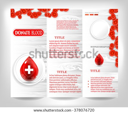 Flyer with text Donate Blood, red blood cells and isolated, big, glossy drop with white cross