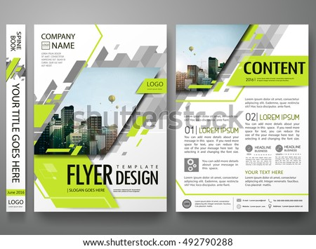 Flyers design template vector.Brochure report business magazine poster.Abstract green cover book portfolio presentation.Flat square triangles on poster design layout.City design on A4 brochure layout.