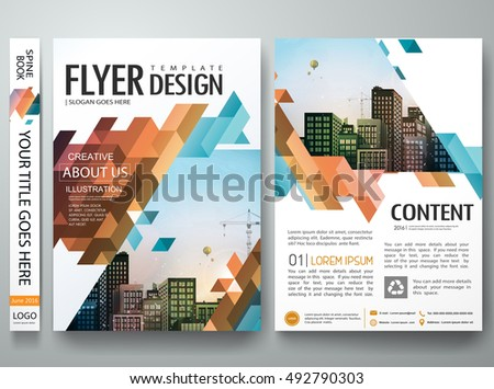 Flyers design template vector.Brochure report business magazine poster.Abstract blue cover book portfolio presentation.Flat orange triangle on poster design layout.City design on A4 brochure layout.