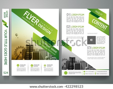 Flyers design template vector. Brochure report business magazine poster. Cover book minimal portfolio presentation and abstract green shape and city in A4 layout.