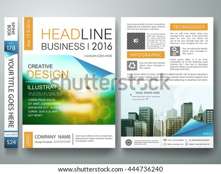 Flyers design template vector. Business brochure report magazine poster. Cover book portfolio presentation and blue page curl on a4 layout.