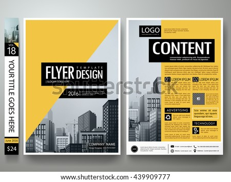 Flyers design template vector.Business brochure report magazine poster template.Cover book portfolio presentation.Abstract black and yellow shape on a4 poster layout.City design on brochure background
