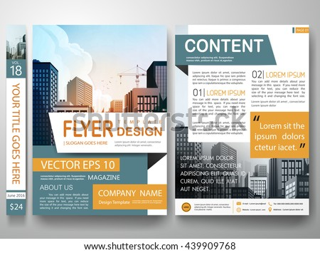 Flyers design template vector.City design on a4 brochure layout background.Cover book portfolio presentation.Green orange shape on poster design.Brochure report business magazine poster template. - stock vector