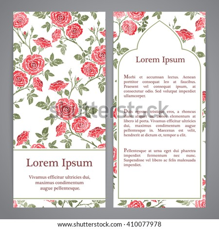 Flyers with floral pattern - rose graphic flowers. - stock vector