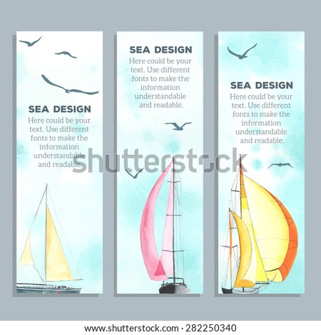 Flyers with watercolor sailboats  made in the vector. Creative cards. Flyers and Banner Designs. - stock vector