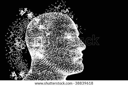 Flying A font Head. Digital Dreaming. - stock vector
