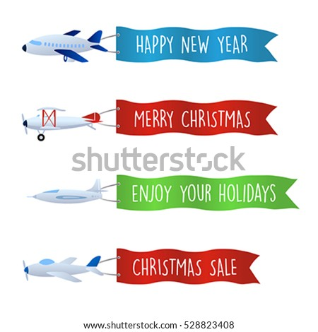 Flying advertising banner set with christmas messages