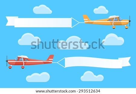 Flying advertising banners pulled by light planes - stock vector