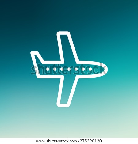 Flying airplane icon thin line for web and mobile, modern minimalistic flat design. Vector white icon on gradient mesh background. - stock vector
