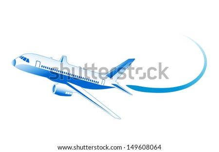 flying airplane on a white background - stock vector