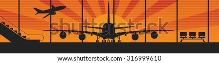 Flying airplanes banners for your text. Retro styled. Vector illustration - stock vector