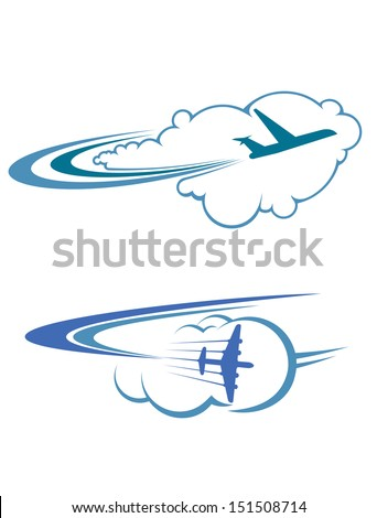 Flying airplanes in sky for travel and tourism design or idea of logo. Jpeg version also available in gallery - stock vector
