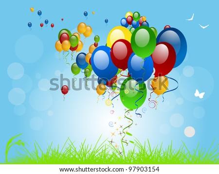 Flying Balloons - stock vector