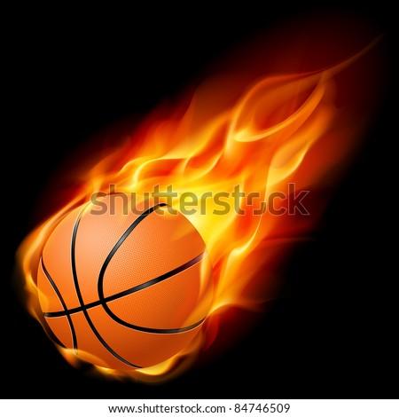 Flying basketball on fire. Illustration on black background - stock vector